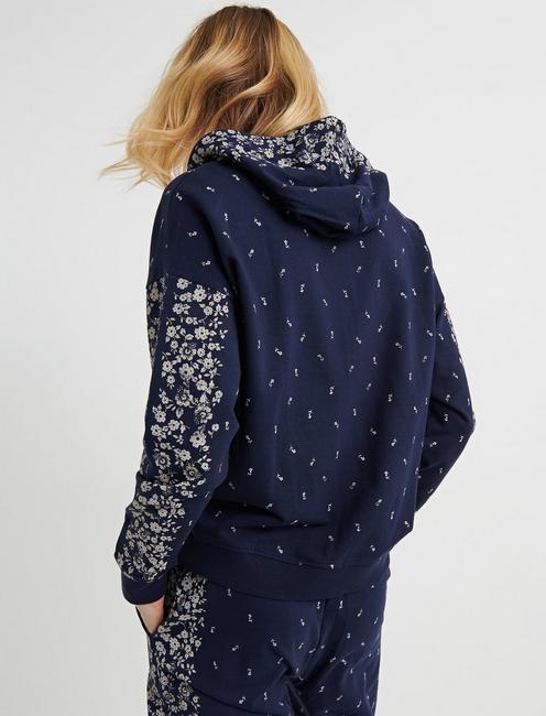FLORAL PLACED HOODED ZIP UP, AMERICAN NAVY
