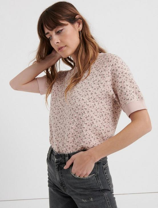 Short Sleeve Pink Floral Pullover