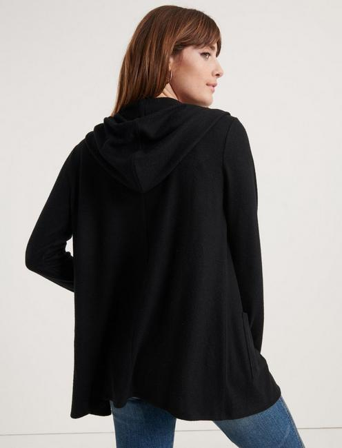 CLOUD JERSEY HOODED CARDIGAN, 001 LUCKY BLACK