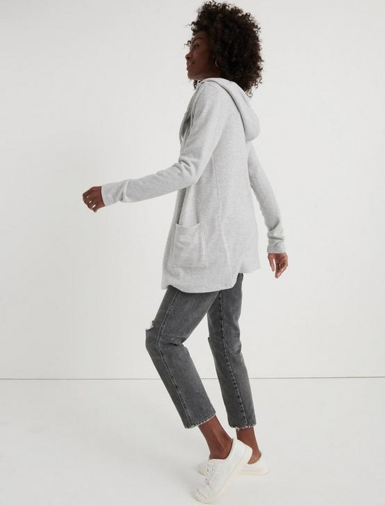CLOUD JERSEY HOODED CARDIGAN, HEATHER GREY, productTileDesktop