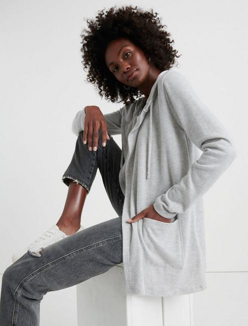 CLOUD JERSEY HOODED CARDIGAN, HEATHER GREY