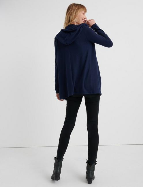 CLOUD JERSEY HOODED CARDIGAN, AMERICAN NAVY