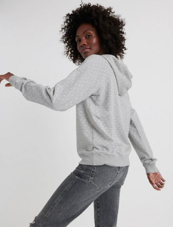 POLKA DOT HOODIE, HEATHER GREY, productTileDesktop