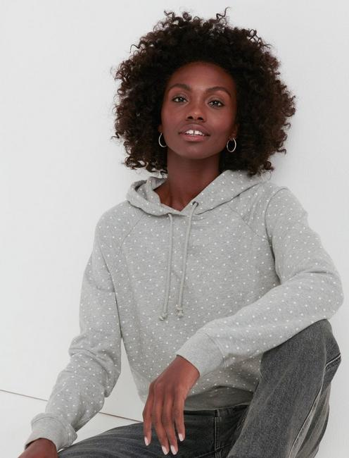 POLKA DOT HOODIE, HEATHER GREY