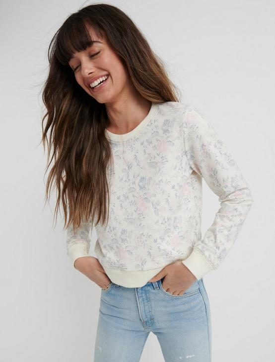 FLORAL CREW PULLOVER, CREAM MULTI, productTileDesktop