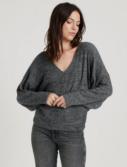 RIBBED V-NECK CLOUD JERSEY TOP, MEDIUM HEATHER GREY