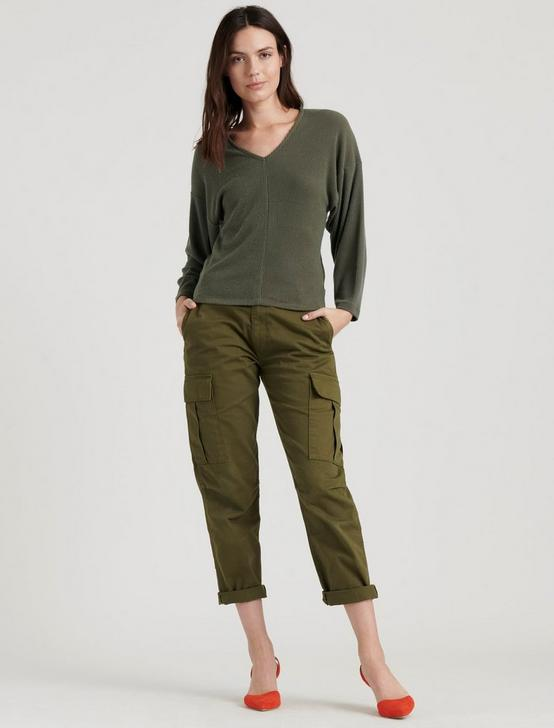 RIBBED V-NECK CLOUD JERSEY TOP, OLIVE NIGHT, productTileDesktop