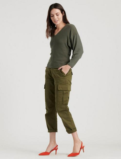 RIBBED V-NECK CLOUD JERSEY TOP, OLIVE NIGHT