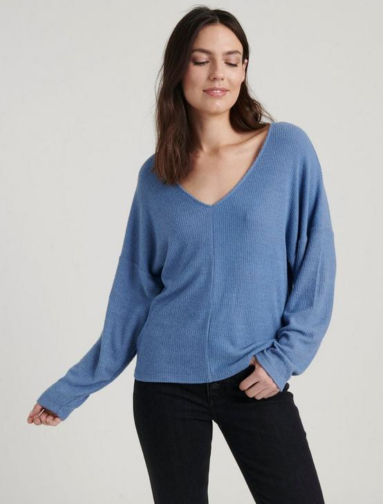 RIBBED V-NECK CLOUD JERSEY TOP, #40100 COLONY BLUE, productTileDesktop