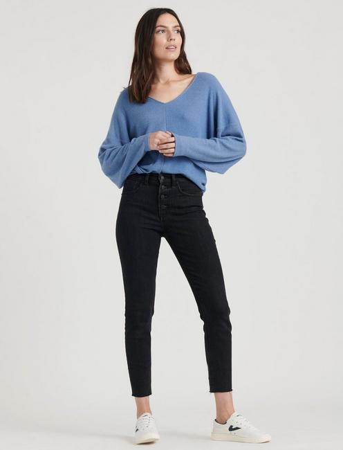 RIBBED V-NECK CLOUD JERSEY TOP, #40100 COLONY BLUE