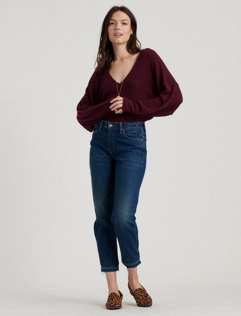 RIBBED V-NECK CLOUD JERSEY TOP, BURGUNDY