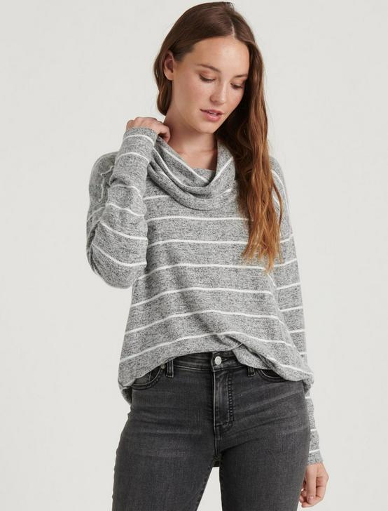 COWL NECK CLOUD JERSEY STRIPE TOP, GREY STRIPE, productTileDesktop