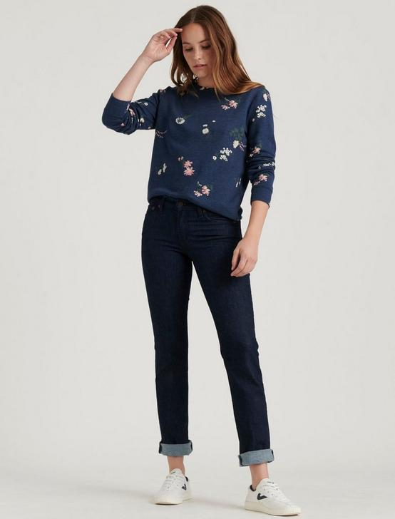 TOSSED FLORAL SWEATSHIRT, AMERICAN NAVY, productTileDesktop