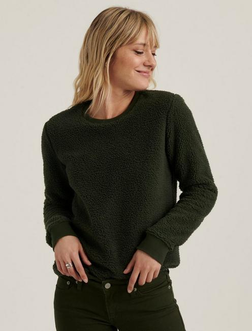 SHERPA CREW NECK PULLOVER, OLIVE