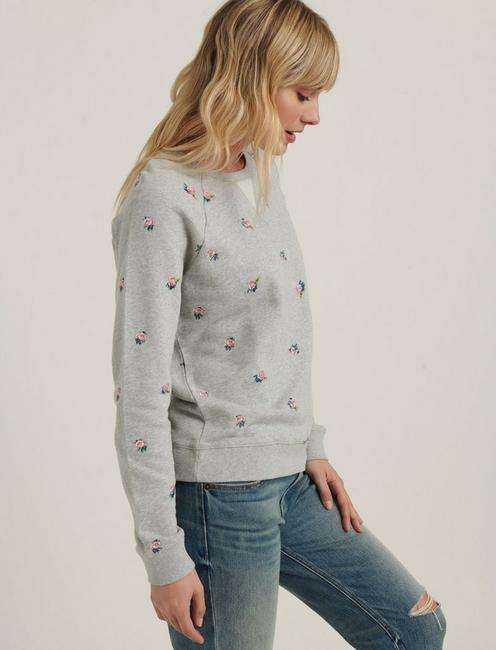 ALLOVER EMBROIDERED SWEATSHIRT, HEATHER GREY