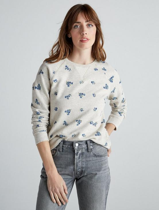 ALLOVER EMBROIDERED FLOWER SWEATSHIRT, OATMEAL, productTileDesktop