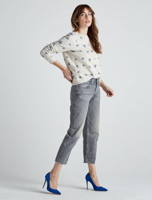 ALLOVER EMBROIDERED FLOWER SWEATSHIRT, OATMEAL