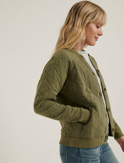 QUILTED BOMBER, BURNT OLIVE