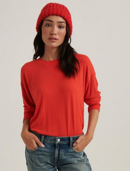 BRUSHED JERSEY V-NECK TOP, #8378 GRENADINE, productTileDesktop
