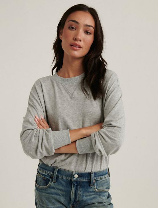 BRUSHED JERSEY V-NECK TOP, HEATHER GREY, productTileDesktop