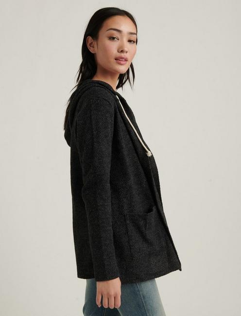 SWIT HOODED CARDIGAN, CHARCOAL HEATHER