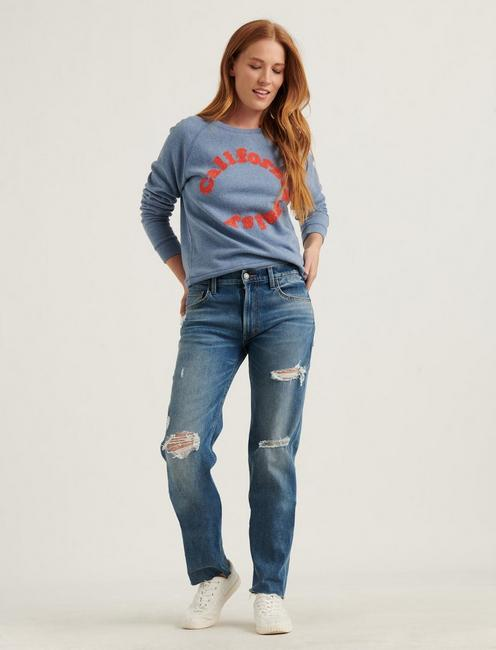 CALIFORNIA DAISY CREW SWEATSHIRT, BLUE MULTI