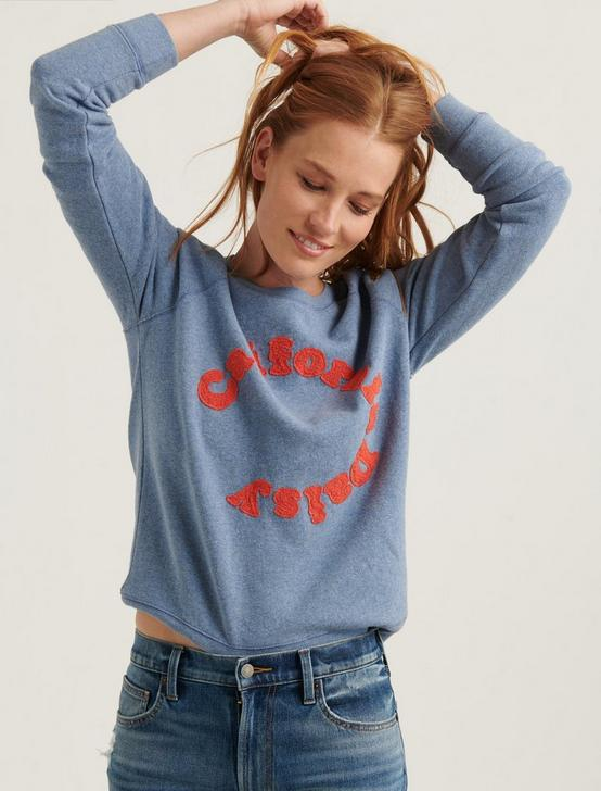 CALIFORNIA DAISY CREW SWEATSHIRT, BLUE MULTI, productTileDesktop