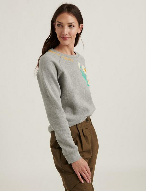 DAISY EMBROIDERED CREW SWEATSHIRT, GREY MULTI, productTileDesktop