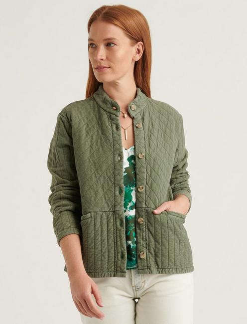 QUILTED BUTTON FRONT JACKET,