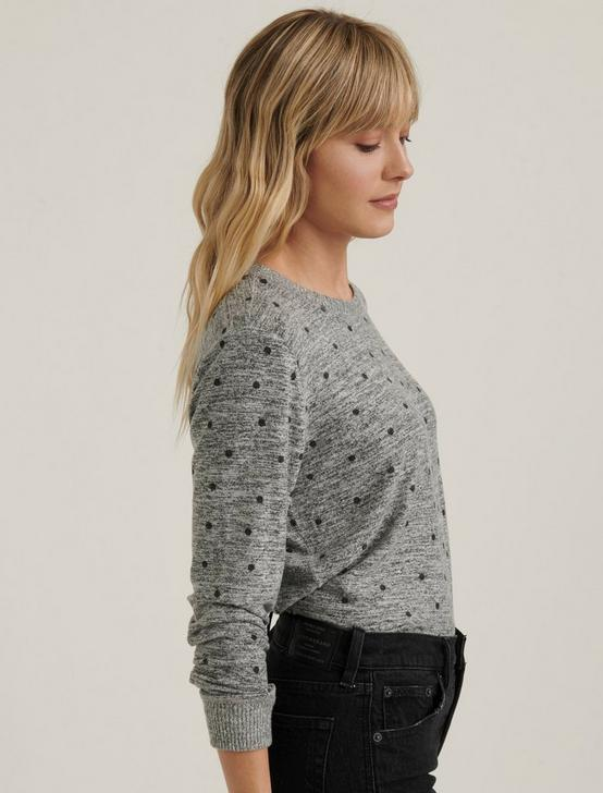 CLOUD JERSEY CREW SWEATSHIRT, POLKA DOT, productTileDesktop