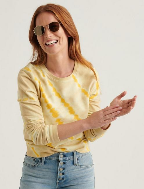 TIE DYE CREW NECK SWEATSHIRT, YELLOW MULTI