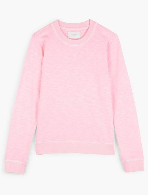 SOLID CREW NECK PULLOVER SWEATSHIRT, COTTON CANDY
