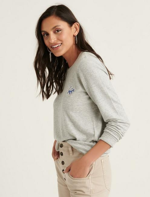 EMBROIDERED CLOUD JERSEY PULLOVER, HEATHER GREY