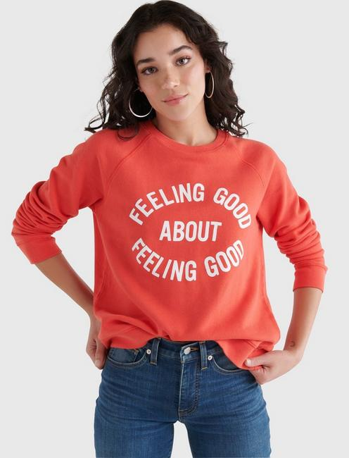 FEELING GOOD GRAPHIC CREW PULLOVER, BITTERSWEET
