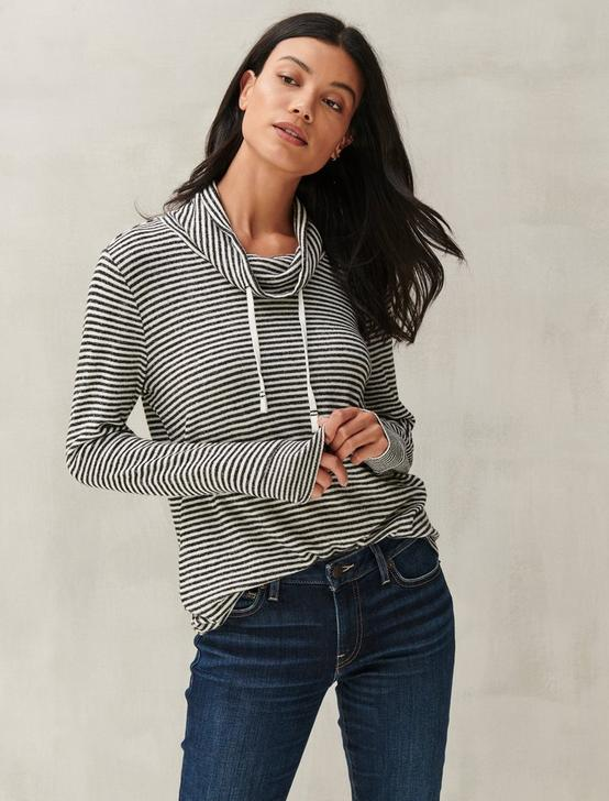 FUNNEL NECK CLOUD JERSEY PULLOVER, BLACK STRIPE, productTileDesktop