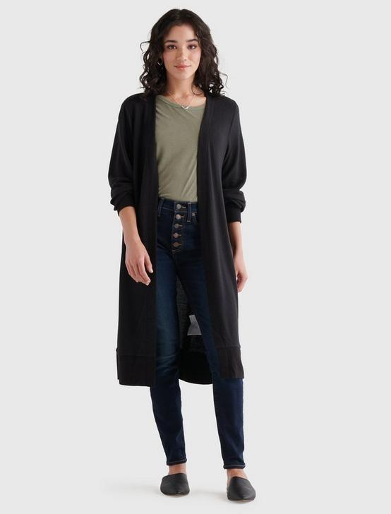 HIGH RIB CLOUD JERSEY CARDIGAN, 001 LUCKY BLACK, productTileDesktop