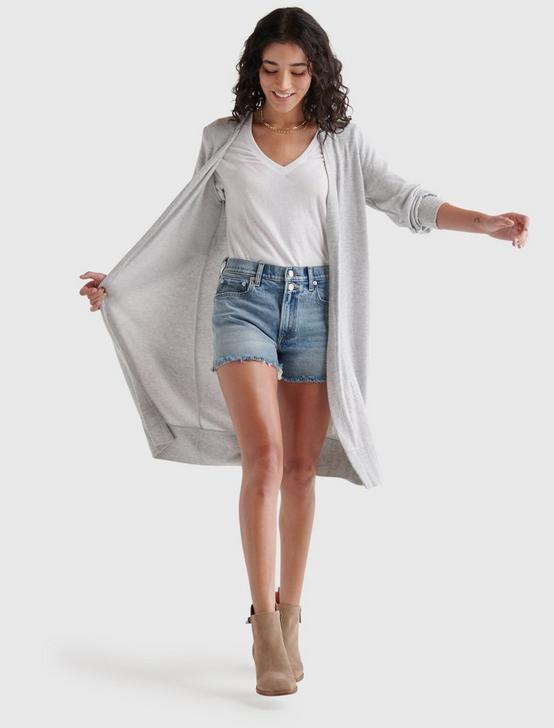 HIGH RIB CLOUD JERSEY CARDIGAN, HEATHER GREY, productTileDesktop