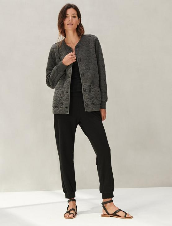 QUILTED KNIT JACKET, 001 LUCKY BLACK, productTileDesktop
