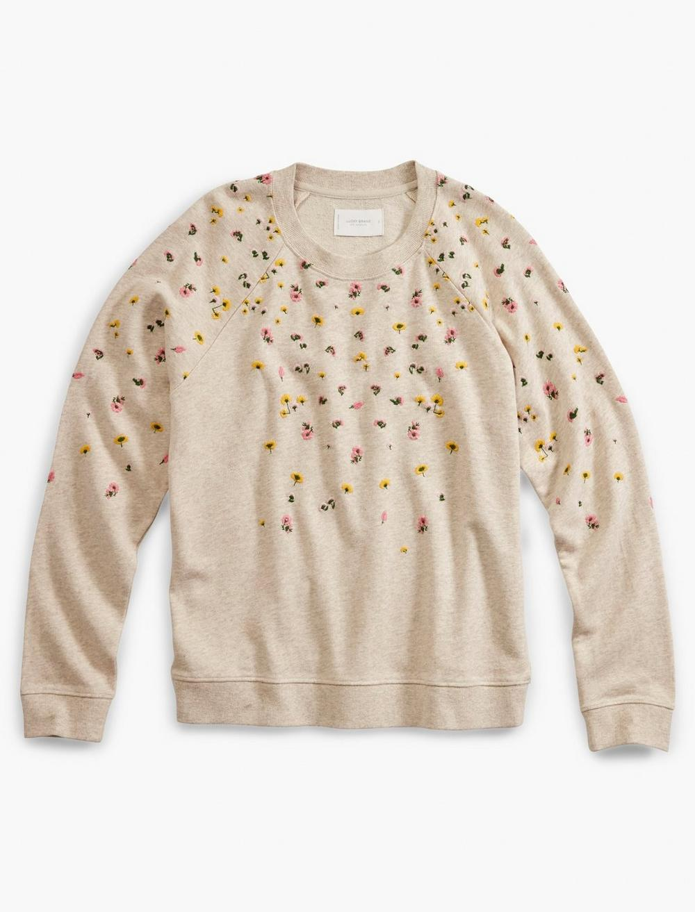 TOSSED FLORAL EMBROIDERY PULLOVER, image 1