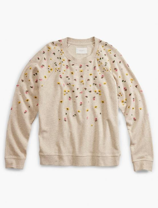 TOSSED FLORAL EMBROIDERY PULLOVER, OATMEAL HEATHER, productTileDesktop