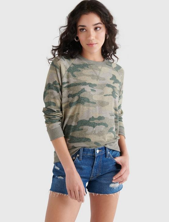 CLOUD JERSEY CAMO CREW PULLOVER, GREEN MULTI, productTileDesktop