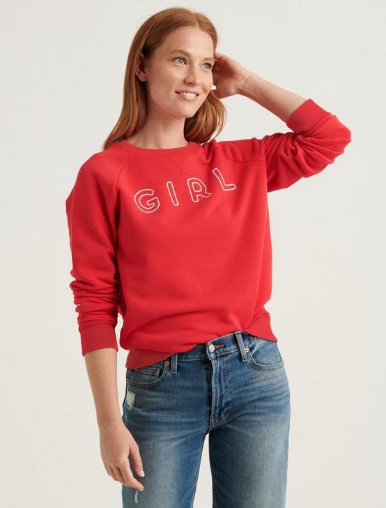 CHAIN STITCH GIRL SWEATSHIRT, TRUE RED, productTileDesktop