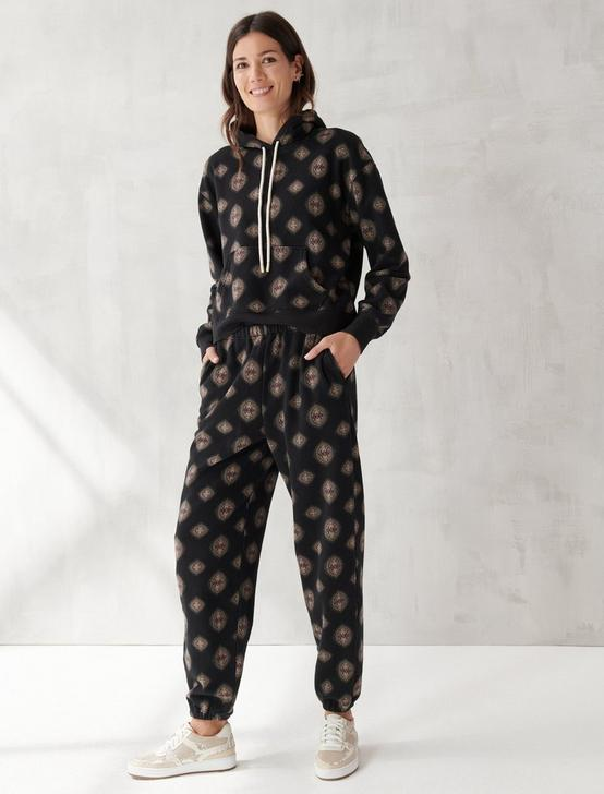 PRINTED SUEDED TERRY JOGGER, BLACK MULTI, productTileDesktop
