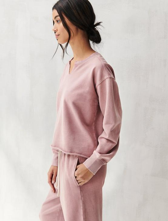 SUEDED TERRY CROP SWEATSHIRT, ROSE, productTileDesktop