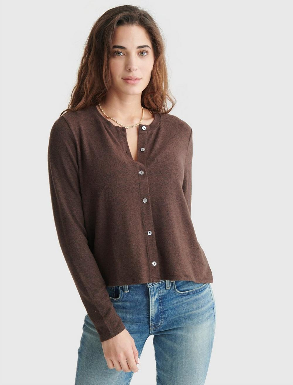 CLOUD JERSEY LONG SLEEVE BUTTON-UP TEE, image 1