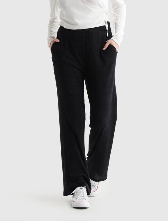 CLOUD JERSEY WIDE-LEG CROPPED PANT, JET BLACK, productTileDesktop