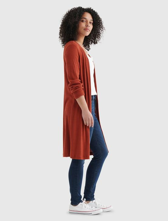 CLOUD JERSEY LONG-LINE OPEN-FRONT CARDIGAN, TANDORI SPICE, productTileDesktop