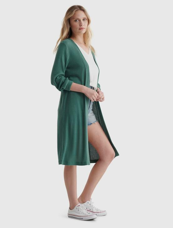 CLOUD JERSEY LONG-LINE OPEN-FRONT CARDIGAN, SAGE BRUSH GREEN, productTileDesktop