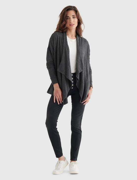 CLOUD JERSEY DRAPED CARDIGAN, CHARCOAL HEATHER, productTileDesktop