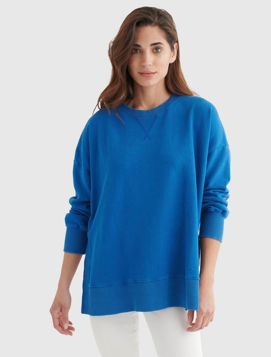 FLEECE CREW NECK PULLOVER, ANCHOR BLUE, productTileDesktop
